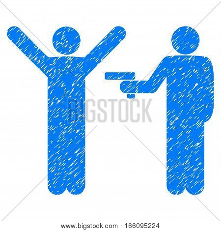 Crime Robbery grainy textured icon for overlay watermark stamps. Flat symbol with unclean texture. Dotted vector blue ink rubber seal stamp with grunge design on a white background.