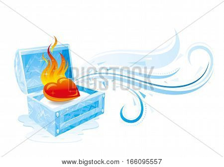 Happy Valentines day vector illustration, burning heart fire melts frozen ice treasure. Romance, love banner, isolated wave pattern, white background. Cute romantic Valentine border. Abstract design