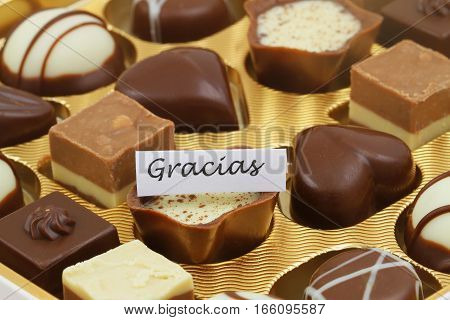 Gracias (thank you in Spanish) card with assorted chocolates and pralines