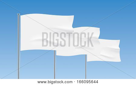 Perspective row of white flags. Waving flag vector templates. Advertising flags realistic mockup.