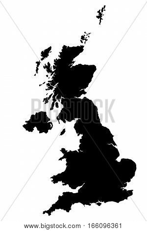 Map Of Great Britain. Silhouette of great Britain in high resolution. Vector illustration.