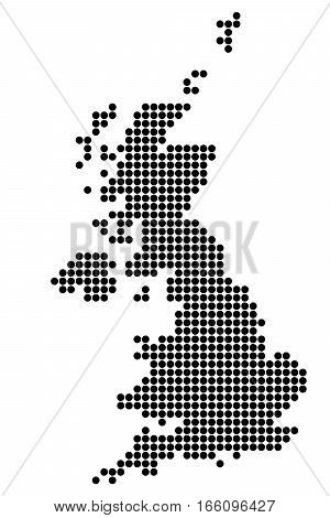 Map Of Great Britain. Silhouette UK made of round dots. Original abstract vector illustration.