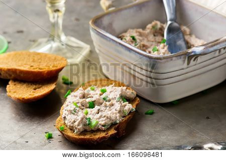 French Sardine Pate . . selective focus