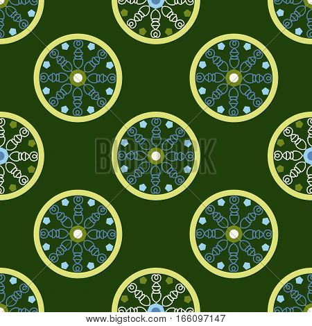 geometric seamless pattern, circles with unusual pattern inside on a green background, vector illustration