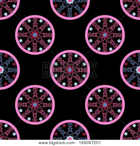 geometric seamless pattern, following an unusual pattern in pink on a black background, vector illustration
