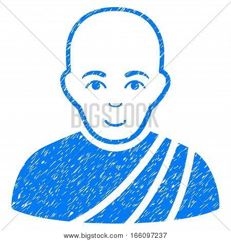 Buddhist Monk grainy textured icon for overlay watermark stamps. Flat symbol with dust texture. Dotted vector blue ink rubber seal stamp with grunge design on a white background.