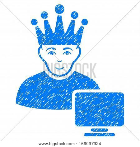 Computer Moderator grainy textured icon for overlay watermark stamps. Flat symbol with scratched texture. Dotted vector blue ink rubber seal stamp with grunge design on a white background.