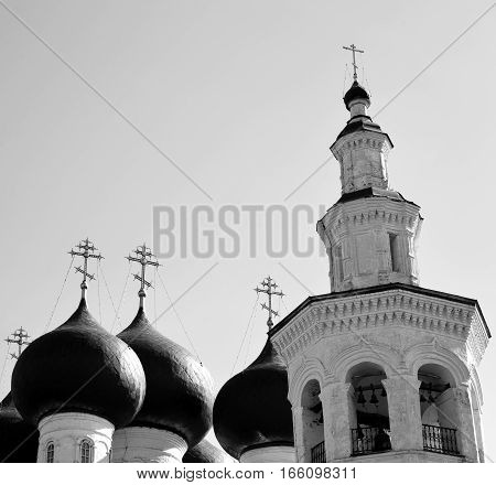 Church of St. Dimitrov Prilutsky on Navolok in Vologda Russia. Black and white.