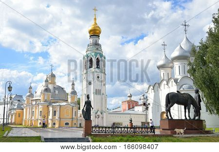 View of Vologda Kremlin at sunny summer day Russia.
