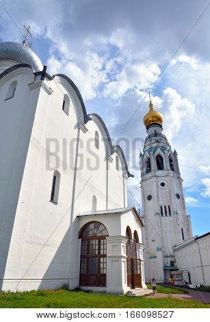 Sophia Cathedral and bell tower in Vologda Kremlin by day Russia.
