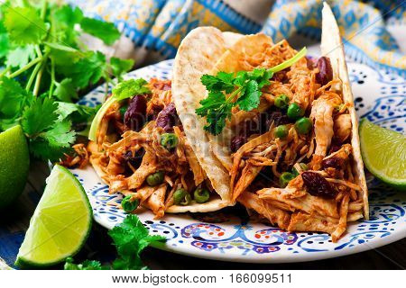 Slow Cooker Shredded Chicken Tex-Mex.selective focus .