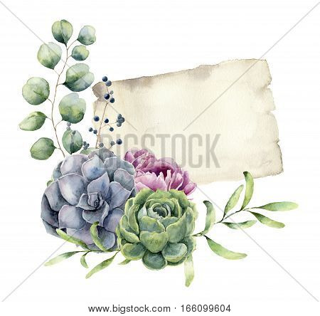 Watercolor spring card with floral design. Hand painted paper texture with eucalyptus, succulent, peony flower and greenery isolated on white background. Illustration for design, print.