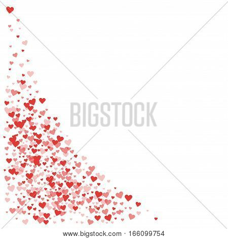 Red Hearts Confetti. Bottom Left Corner On White Valentine Background. Vector Illustration.