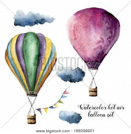 Watercolor hot air balloon set for design. Hand painted vintage air balloons with flags garlands and clouds. Illustrations isolated on white background.