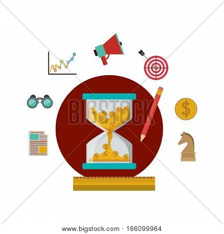 Coins inside hourglass and social media icon set. Money financial item commerce market and buy theme. Isolated design. Vector illustration