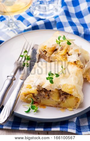 strudel with potatoes and forcemeat..selective focus. style rustic