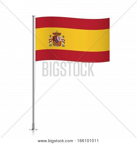 Spain vector flag template. Waving flag of Spain on a metallic pole, isolated on a white background.
