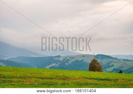 Haystack on beautiful summer landscape in Carpathian mountain field in cloudy sunny summer day. Karpaty, Ukraine