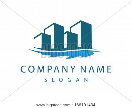 Buildings and lake logo on white background