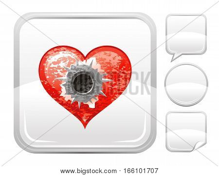 Happy Valentines day romance love heart. Shot bullet in heart icon isolated on white background. Button icons set. Abstract template holiday design. Flat cute cartoon sign.