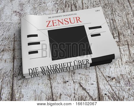 Censorship In Germany Concept: Pile of Censored Newspapers On Scratched Old Wood 3d illustration