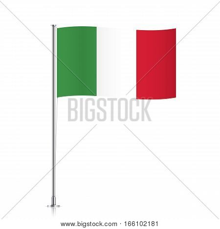 Italy vector flag template. Waving flag of Italy on a metallic pole, isolated on a white background.