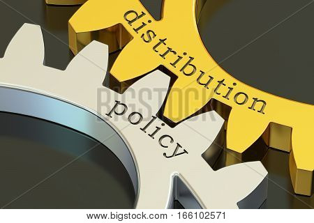 distribution policy concept on the gearwheels 3D rendering