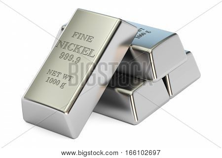 nickel ingots closeup 3D rendering isolated on white background