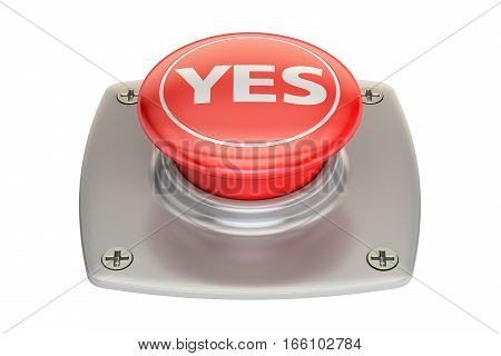 Yes red button 3D rendering isolated on white background