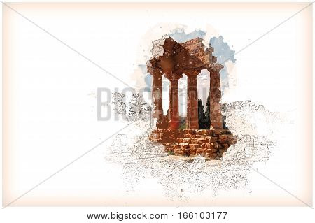 Agrigento, Sicily. Temple of Castor and Pollux one of the greeks temple of Italy, Magna Graecia. Modern Painting. Brushed artwork based on photo.