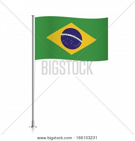 Brazil vector flag template. Waving flag of Brazil on a metallic pole, isolated on a white background.