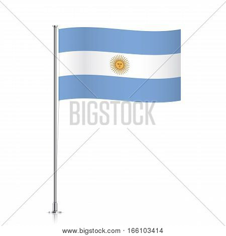 Argentina vector flag template. Waving flag of Argentina on a metallic pole, isolated on a white background.