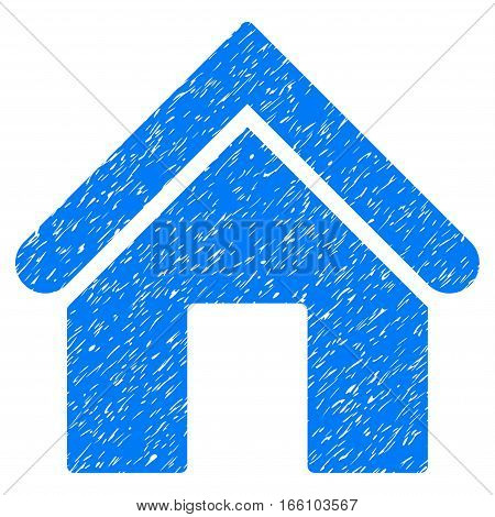 Home grainy textured icon for overlay watermark stamps. Flat symbol with dust texture. Dotted vector blue ink rubber seal stamp with grunge design on a white background.