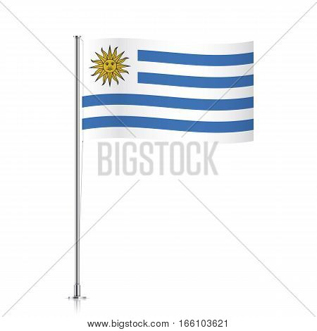 Uruguay vector flag template. Waving flag of Uruguay on a metallic pole, isolated on a white background.