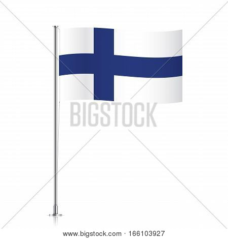 Finnish vector flag template. Waving flag of Finland on a metallic pole, isolated on a white background.