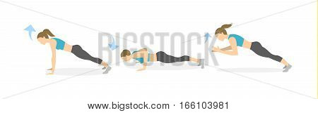 Full body workout on white background. Healthy lifestyle. Workout for endurance. Exercise for women. plank, push ups and clap.
