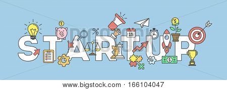Startup banner illustration with icons. Business strategy and many icons as rocket, magnifyer, loudspeaker and more.
