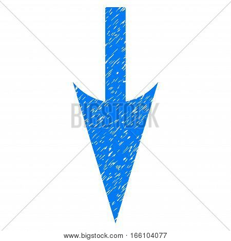 Sharp Down Arrow grainy textured icon for overlay watermark stamps. Flat symbol with dirty texture. Dotted vector blue ink rubber seal stamp with grunge design on a white background.