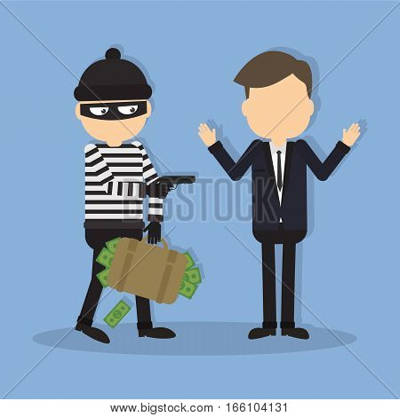 Thief with a gun. Funny cartoon thief in black mask stealing a bag. Concept of fraud, crime.