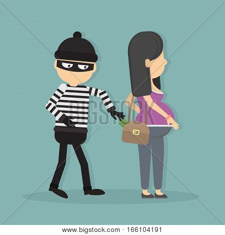 Pickpocket steals money from pregnant girl. Concept of danger and attention. Robbery and theft.