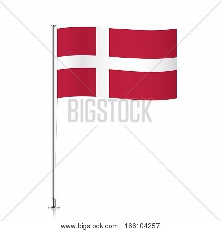Danish vector flag template. Waving flag of Denmark on a metallic pole, isolated on a white background.