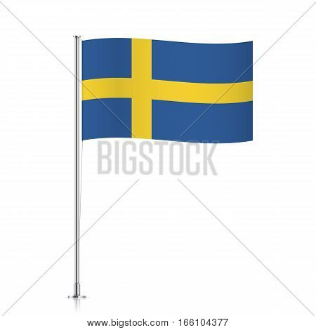Swedish vector flag template. Waving flag of Sweden on a metallic pole, isolated on a white background.