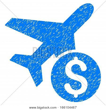 Airplane Price grainy textured icon for overlay watermark stamps. Flat symbol with unclean texture. Dotted vector blue ink rubber seal stamp with grunge design on a white background.