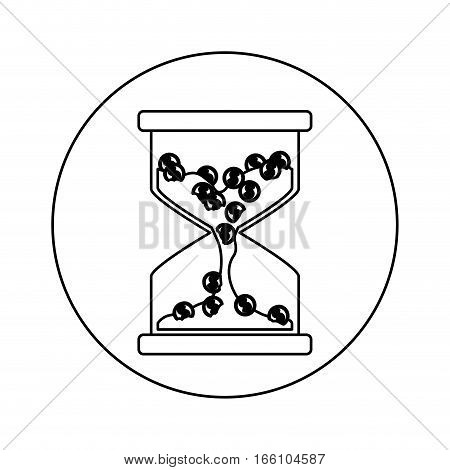Coins inside hourglass icon. Money financial item commerce market and buy theme. Isolated design. Vector illustration