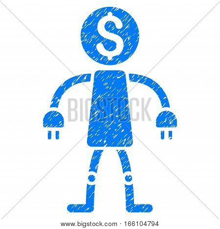 Bank Robot grainy textured icon for overlay watermark stamps. Flat symbol with scratched texture. Dotted vector blue ink rubber seal stamp with grunge design on a white background.