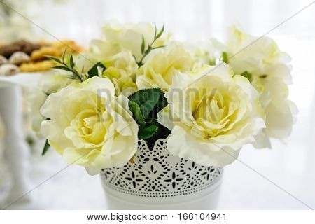 White Rose In Small Metal Bucket