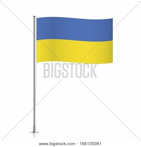 Ukrainian vector flag template. Waving flag of Ukraine on a metallic pole, isolated on a white background.
