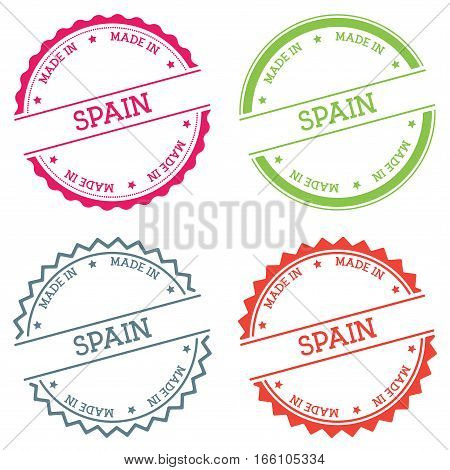 Made In Spain Badge Isolated On White Background. Flat Style Round Label With Text. Circular Emblem