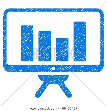 Bar Chart Monitoring Board grainy textured icon for overlay watermark stamps. Flat symbol with dirty texture. Dotted vector blue ink rubber seal stamp with grunge design on a white background.