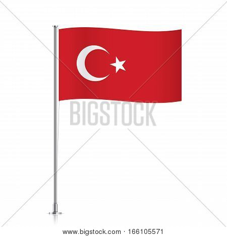 Turkish vector flag template. Waving flag of Turkey on a metallic pole, isolated on a white background.